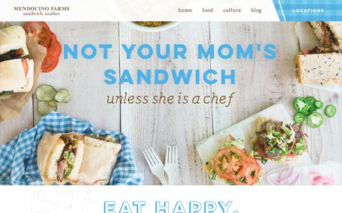 Screenshot of Home Page mendocinofarms.com - Mendocino Farms | Best Sandwiches & Catering Los Angeles - captured Oct. 14, 2015