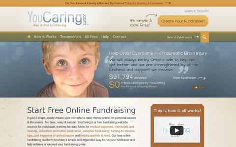 Screenshot of Home Page youcaring.com - Free Online Fundraising. Raise Money Online. - YouCaring.com - captured July 11, 2014