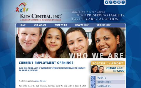 Screenshot of Jobs Page kidscentralinc.org - Current Employment Openings – Kids Central Inc. - captured Sept. 20, 2018