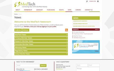 Screenshot of Press Page medtech.org - News » MedTech - captured Feb. 12, 2016