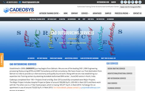 Screenshot of Services Page cadeosys.com - CAD Outsourcing Services - Welcome To Cadeosys - captured July 10, 2016