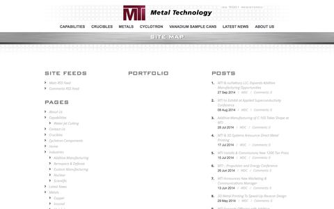Screenshot of Site Map Page mtialbany.com - Crucibles | Vandium Sample Cans | Deep Draw Forming | CNC Machining | MTI Albany - captured Oct. 27, 2014