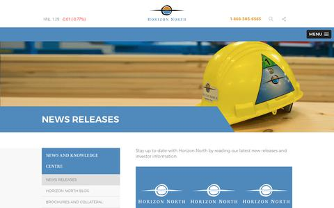 Screenshot of Press Page horizonnorth.ca - News Releases Archive - Horizon North Logistics - captured Sept. 2, 2017
