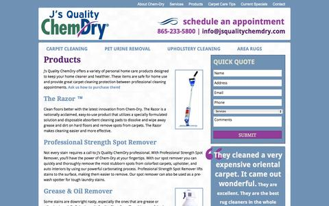 Screenshot of Products Page jsqualitychemdry.com - Products   Carpet Cleaning   Tile, Rug & Uphostelry Cleaners - captured Sept. 30, 2014