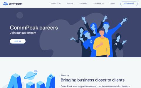 Screenshot of Jobs Page commpeak.com - Careers - CommPeak - VoIP Provider, Cloud PBX, DID Numbers, SMS and Auto Dialer Services - captured Oct. 11, 2019
