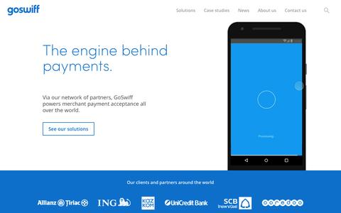 Screenshot of Home Page goswiff.com - GoSwiff | The engine behind payments - captured May 25, 2017