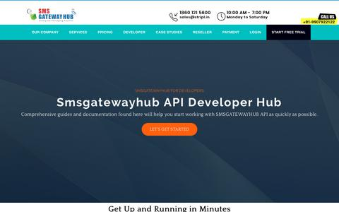 Screenshot of Developers Page smsgatewayhub.com - Smsgatewayhub API Developer Hub Bulk SMS API, Bulk SMS API, HTTP's API, API key provider for customized integration - captured June 28, 2019