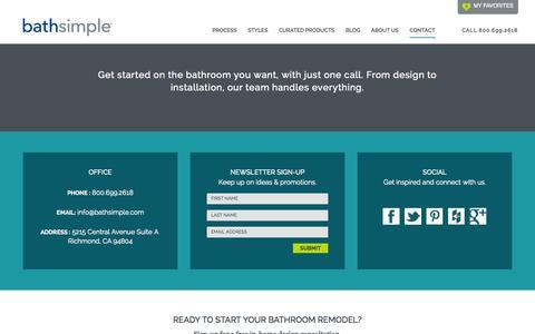 Screenshot of Contact Page bathsimple.com - BathSimple, 5215 Central Avenue Suite A, Richmond CA 94804 - 800-699-2618BathSimple - captured Nov. 3, 2014