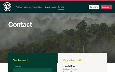 Screenshot of Contact Page rainforestconcern.org - Contact - captured Oct. 20, 2018