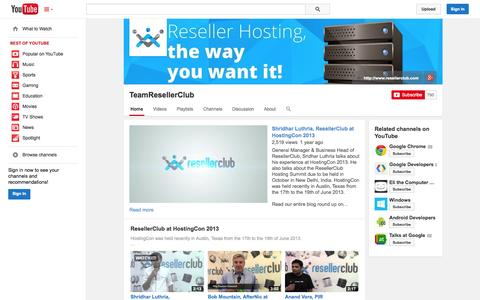 Screenshot of YouTube Page youtube.com - TeamResellerClub  - YouTube - captured Oct. 26, 2014