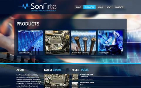 Screenshot of Products Page sonarte.ca - Products  Sonarte - captured Oct. 26, 2014