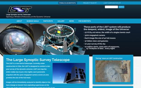 Screenshot of Home Page lsst.org - Welcome  | The Large Synoptic Survey Telescope - captured Jan. 25, 2016