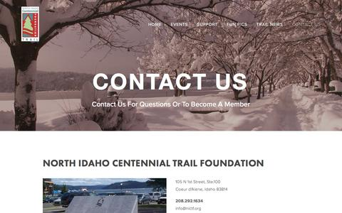 Screenshot of Contact Page itsmytrail.com - Contact Us — North Idaho Centennial Trail Foundation - captured June 29, 2016