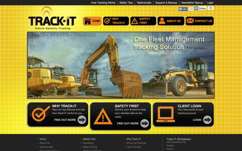 Screenshot of Home Page trackit.co.zw - Track-iT Zimbabwe | Vehicle Tracking | GPS Tracking | Fleet Management | Satellite Tracking | Car Tracking | Track-iT has been Zimbabwe's leading tracking company for the past 11 years, specialising in Vehicle Tracking & Fleet Management - captured Oct. 6, 2014