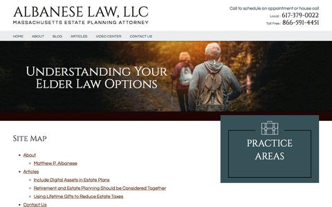 Screenshot of Site Map Page albaneselawllc.com - Site Map | Albanese Law, LLC | Boston, Massachusetts - captured July 29, 2018
