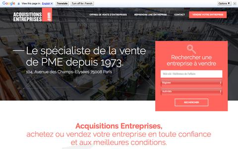 Screenshot of Home Page acquisitions-entreprises.com - Vendre une entreprise avec Acquisitions Entreprises - captured July 3, 2018