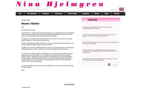 Screenshot of Blog ninahjelmgren.com - Blogg - captured Oct. 1, 2014