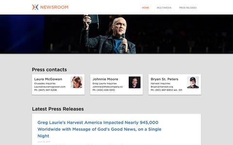 Screenshot of Press Page harvest.org - harvest: greg laurie | Newsroom - captured July 19, 2017