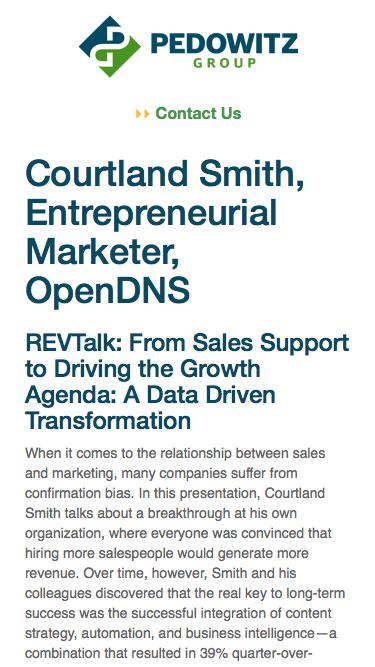 REVTalk: From Sales Support to Driving the Growth Agenda: A Data Driven Transformation