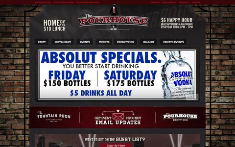Screenshot of Home Page thepourhousempls.com - The Pourhouse Minneapolis – Downtown Restaurant & Night Club | The Pourhouse Minneapolis is a 12,000 square foot Prohibition-themed party, sports bar & restaurant located in the Lumber Exchange Building at 5th Street and Hennepin Avenue. - captured Oct. 6, 2014