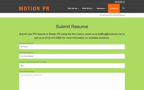 Screenshot of Jobs Page motionpr.net - Submit Resume - Motion PR Chicago - captured Nov. 8, 2017