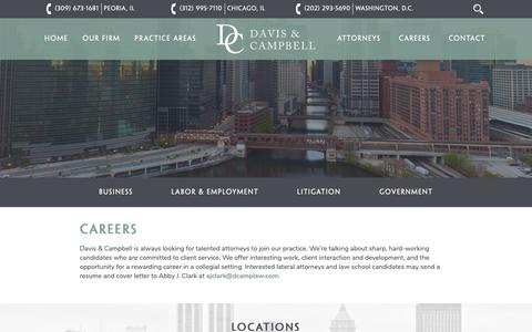 Screenshot of Jobs Page dcamplaw.com - Careers - Davis & Campbell - captured Oct. 7, 2018