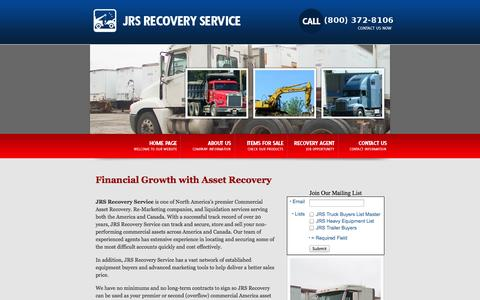 Screenshot of Home Page About Page jrsrecovery.com - America Asset Recovery & Liquidation Services | Bank Repo Sale Canada - captured Oct. 6, 2014