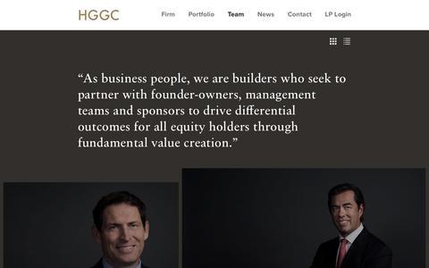 Screenshot of Team Page hggc.com - Teams   HGGC - captured Sept. 25, 2018