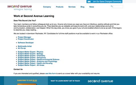 Screenshot of Jobs Page secondavenuelearning.com - Work at Second Avenue Learning - captured July 18, 2018