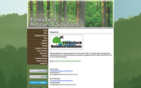 Screenshot of Contact Page forestechresourcesolutions.com - Contact Us - captured Sept. 30, 2014