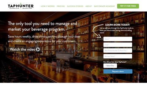 Screenshot of Home Page gettaphunter.com - Manage & Market Your Beverage Program with TapHunter - captured Oct. 28, 2015