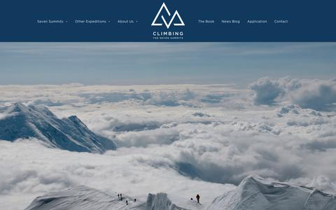 Screenshot of Home Page climbingthesevensummits.com - Climbing the Seven Summits with Mike Hamill – Climb the Seven Summits with mountain guide Mike Hamill - captured July 18, 2018