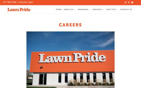 Screenshot of Jobs Page lawnpride.com - About Us | Lawn Pride | Central Indiana Lawn Care - captured Sept. 27, 2018