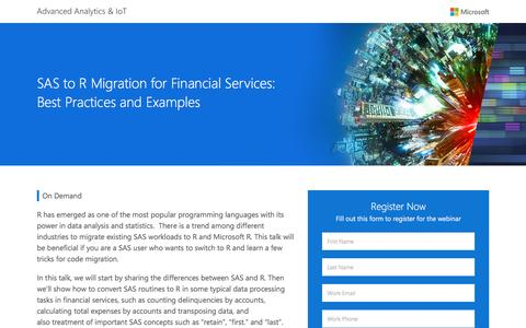 Screenshot of Landing Page microsoft.com - SAS to R Migration for Financial Services: Best Practices and Examples    Microsoft - captured Jan. 18, 2017