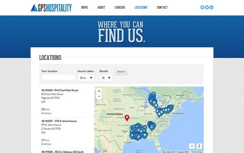 Screenshot of Locations Page gpshospitality.com - Locations   GPS Hospitality - captured May 13, 2017