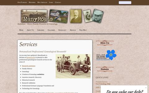 Screenshot of Services Page many-roads.com - Services - captured May 28, 2017