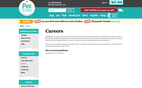 Screenshot of Jobs Page petcircle.com.au - Careers | Pet Circle - captured Feb. 26, 2016