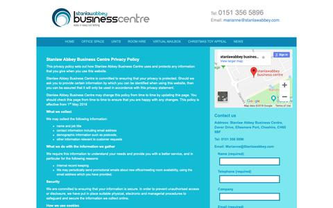 Screenshot of Privacy Page stanlawabbey.co.uk - Privacy Policy | Stanlaw Abbey Business Centre - captured Oct. 19, 2018