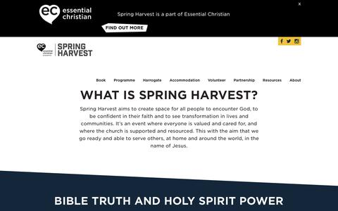 Screenshot of About Page springharvest.org - What is Spring Harvest? Spring HarvestSpring Harvest - captured Sept. 21, 2018