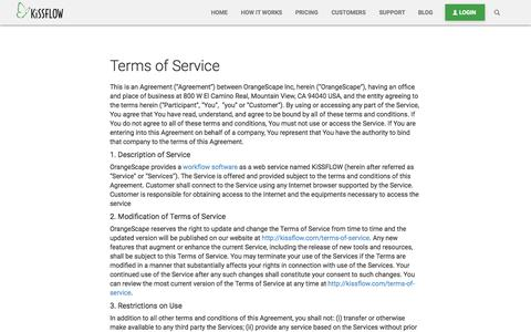 Terms of Service - KiSSFLOW