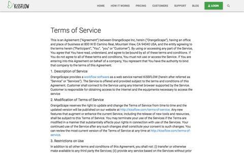 Terms of Service - KiSSFLOW