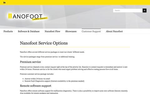 Screenshot of Support Page nanofoot.com - Customer Support - Nanofoot Finland - captured Feb. 22, 2016