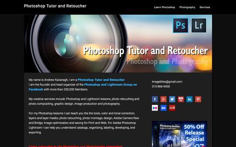 Screenshot of Home Page andrewkavanagh.com - Photoshop Tutor | Retoucher | Photoshop | Retouching - captured Aug. 1, 2017
