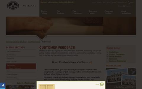 Screenshot of Testimonials Page timberlane.com - Timberlane Exterior Shutters :: Testimonials - captured Nov. 4, 2014