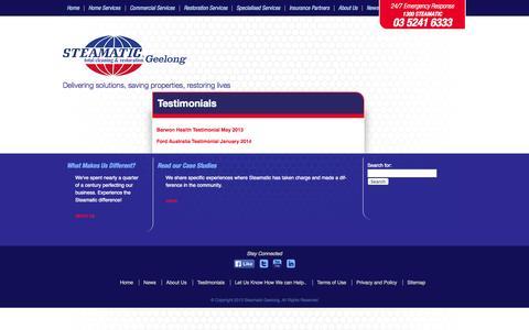 Screenshot of Testimonials Page steamaticgeelong.com.au - Testimonials | Steamatic Geelong | Feedback - captured Oct. 7, 2014