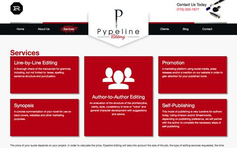 Screenshot of Services Page pypelineediting.com - Services - captured Dec. 13, 2015