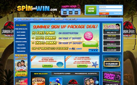 Screenshot of Home Page spinandwin.com - Online Slots and Casino Games | Spin and Win - captured Sept. 19, 2014