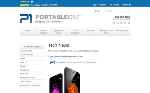 Screenshot of Press Page portableone.com - Tech News - captured Sept. 25, 2014