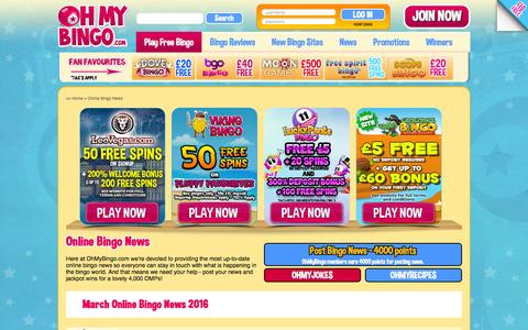 Screenshot of Press Page ohmybingo.com - Online Bingo News from OhMyBingo | New Bingo Sites Updates - captured March 1, 2016