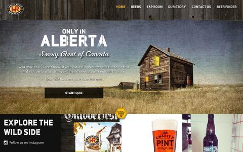 Screenshot of Home Page wildrosebrewery.com - Home  | Wild Rose Brewery - captured Sept. 30, 2014